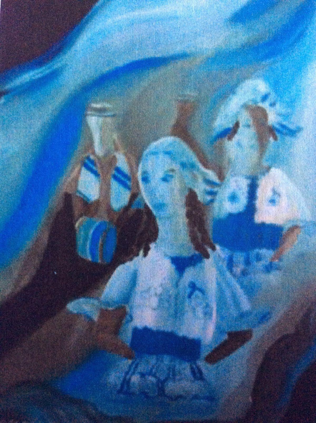 Auli Mousumi De: Keti Koti Blue and White - acryl op doek